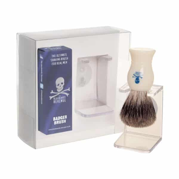 bluebeards revenge pure badger brush stand gift set befaf men 39 s hair beard grooming. Black Bedroom Furniture Sets. Home Design Ideas