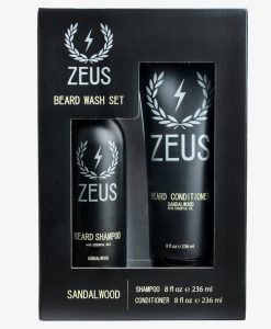 Zeus Beard Shampoo And Conditioner Set (8 Fl Oz), Zeus Sandalwood