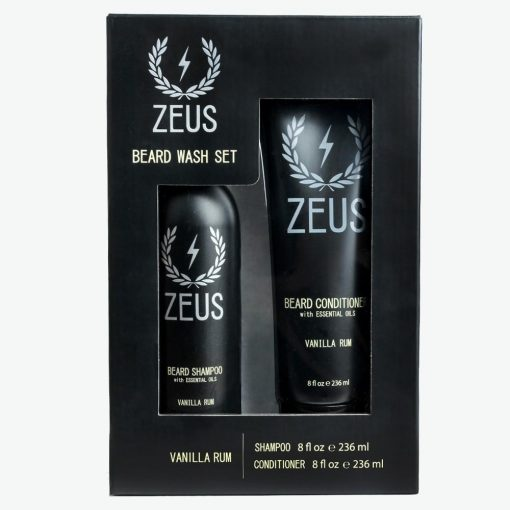 Zeus Beard Shampoo And Conditioner Set (8 Fl Oz), Zeus Vanilla Rum