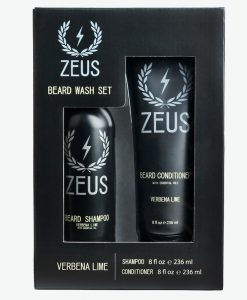 Zeus Beard Shampoo And Conditioner Set (8 Fl Oz), Zeus Verbena Lime