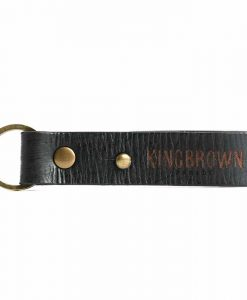 King Brown Leather Key Fob in Black