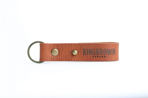 King Brown Leather Key Fob in Brown