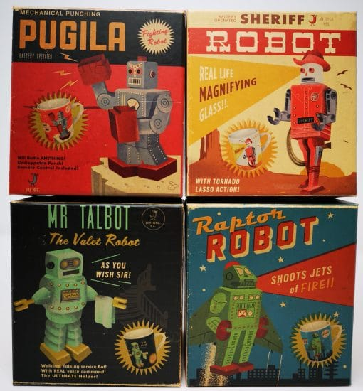 Retro Vintage Japanese Robot Big Mug Set of 4