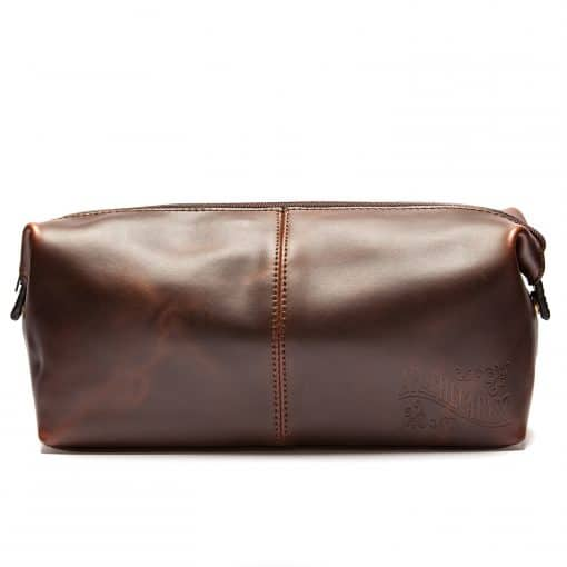 Apothecary 87 Wash Bag Leather with Tartan Lining