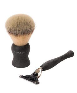 ACCA KAPPA NATURAL BLACK SHAVING SET WITH SYNTHETIC FIBRE BRUSH AND MACH3 RAZOR