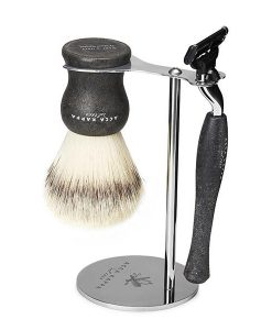 Acca Kappa 3-piece Natural Black Shaving Set With Synthetic Fibre Brush