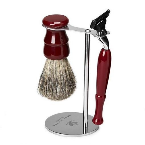 Acca Kappa 3-piece Venetian Red Shaving Set With Badger Brush