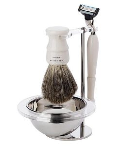 Acca Kappa 4-piece Shaving Set With Ivory Badger Brush